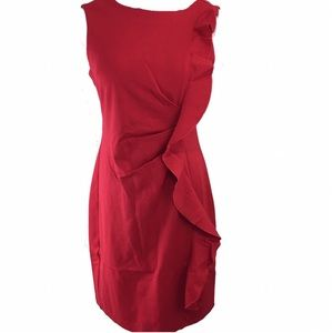 THE LIMITED Sleeveless Ruffle Red Ponte Dress MD